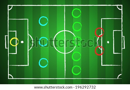 Soccer field chalk drawn style with tactical scheme 3-5-2. illustration eps 10