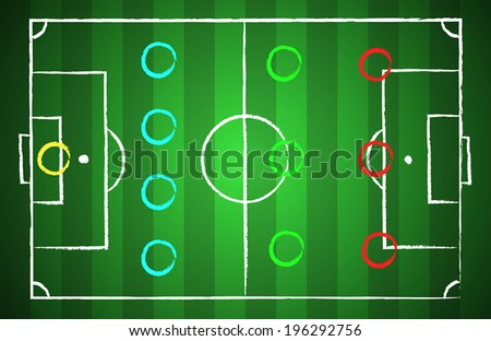 Soccer field chalk drawn style with tactical scheme 4-3-3. illustration eps 10 - stock vector