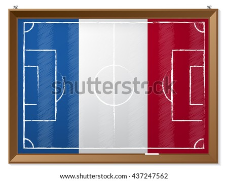 Soccer field drawing with french flag in background - stock vector