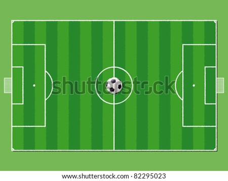 Soccer field / pitch or football field in aerial perspective with ball on the center point - stock vector