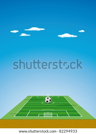 Soccer field / pitch or football field in 3D aerial perspective with ball on the center point, goals and corner flags - stock vector