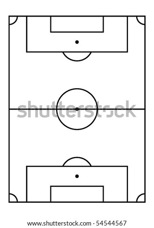 Soccer field, right proportion and field measures. Vector. - stock vector