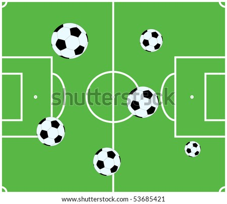Soccer field. Soccer balls on the field. Football field. - stock vector