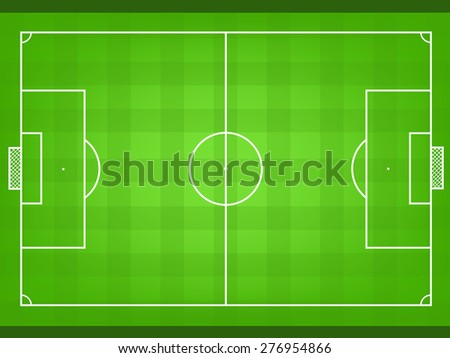 Soccer field vector or football field vector. Soccer plan. Football plan. Soccer and football formation - stock vector