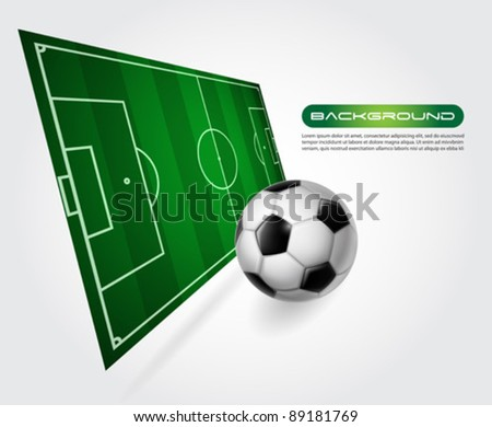 Soccer field with ball - vector - stock vector