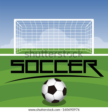 Soccer Field With Goal, Ball And Text - stock vector