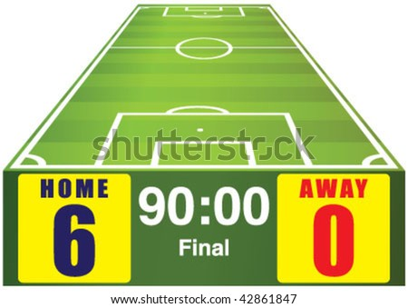 Soccer field with home away scoreboard - stock vector