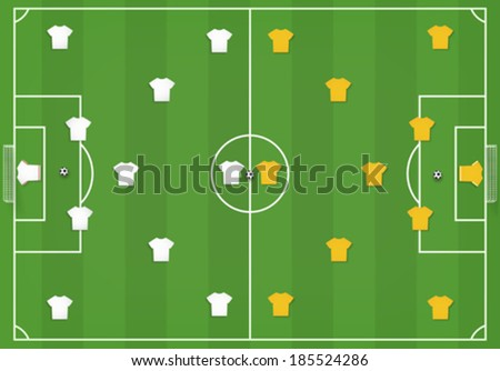 Soccer field with players, mock from top - stock vector