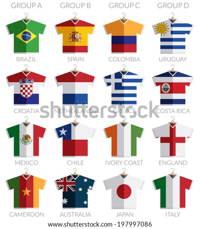 soccer flag shirts on hangers isolated on white, with transparencies. - stock vector