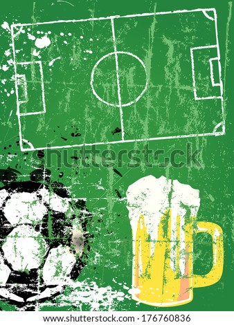 Soccer / Football and beer, grunge style, vector  - stock vector