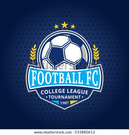 Soccer football club logo template. Soccer football label with sample text. Soccer football icon for sport tournaments and organizations. Sport team identity. - stock vector
