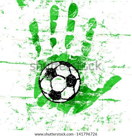 soccer / football design, grungy, vector - stock vector