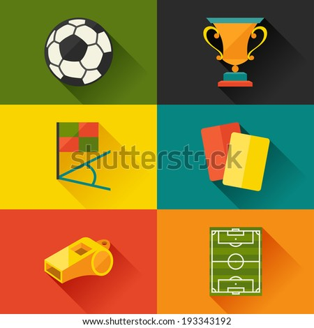 Soccer (football) icon set in flat design style. - stock vector