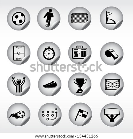 Soccer, football icons, stickers - stock vector
