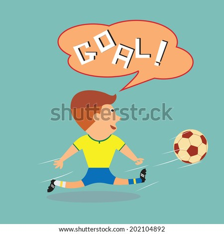 Soccer football in yellow blue trunk kicking ball with goal word in speech balloon