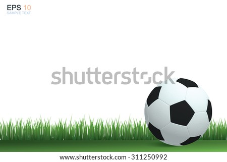 Soccer football on grass field. Vector illustration.