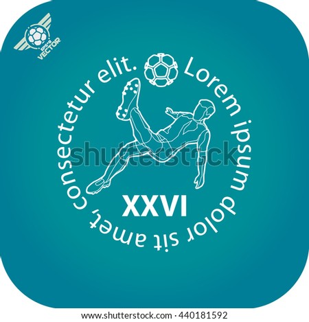 Soccer (football) player in a jump on a ball hit his foot. Logo. Light on a dark background. eps8 - stock vector