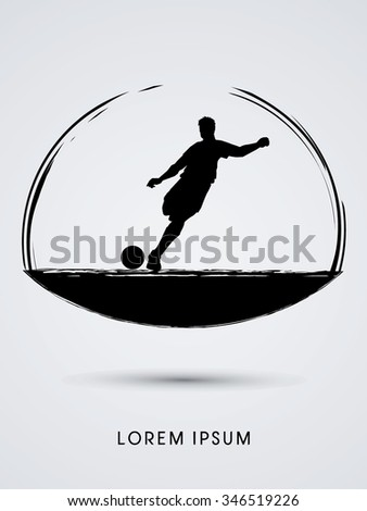 Soccer, football, player silhouette, designed using grunge brush graphic vector. - stock vector