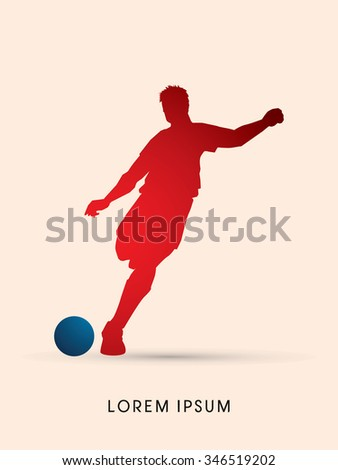 Soccer, football, player silhouette, graphic vector. - stock vector