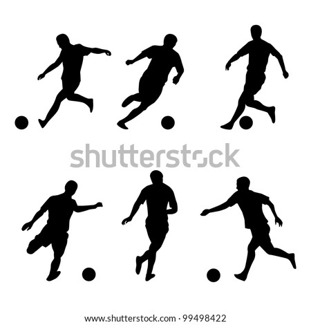 Soccer, football players silhouettes. Illustration on white background - stock vector