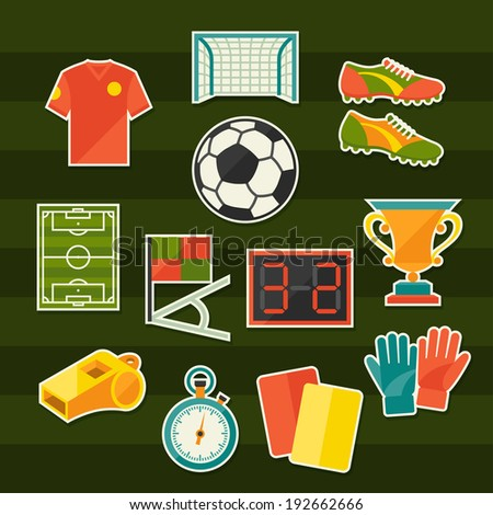 Soccer (football) sticker icon set in flat design style. - stock vector