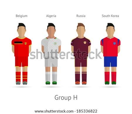 Soccer / Football team players. Group H - Belgium, Algeria, Russia, South Korea. Vector illustration. - stock vector