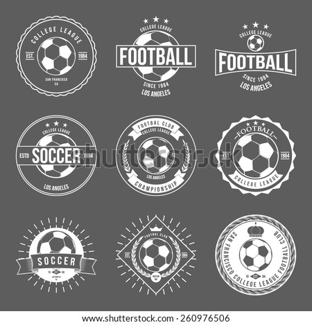 Soccer Football Typography Badge Design Element vector - stock vector