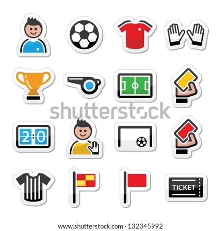 Soccer / football vector icons set - stock vector