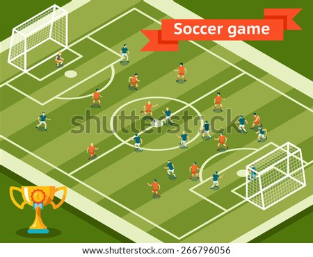 Soccer game. Football field and players. Competition and goal, sport and team. Vector illustration - stock vector