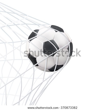 Soccer game match goal moment with ball in the net black white picture vector illustration