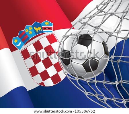 Soccer Goal. Croatia flag with a soccer ball in a net. Vector illustration - stock vector