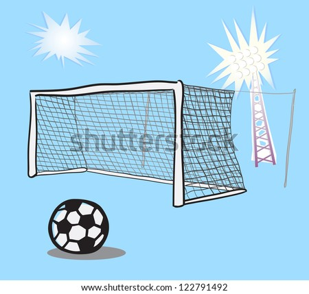 Soccer goal doodle. - stock vector