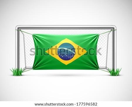 Soccer goal with flag brazil, eps 10. - stock vector