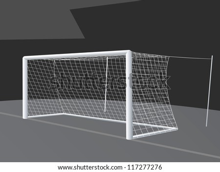 Soccer goal with net stretched on racks. - stock vector