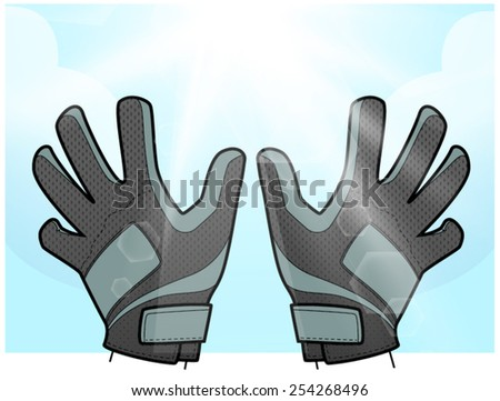 Soccer goalkeeper gloves and sunlight vector. - stock vector
