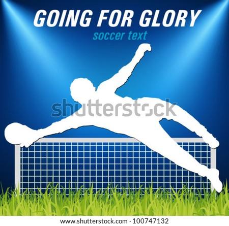 soccer goalkeeper on the grass in the spotlight - stock vector