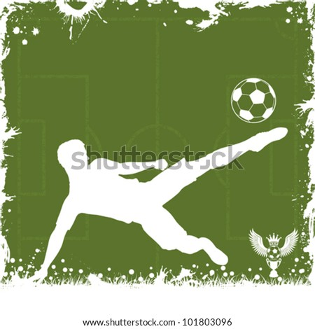 Soccer Grunge Frame with Football Player, vector illustration - stock vector