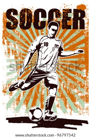 soccer grunge poster with player shooting - stock vector