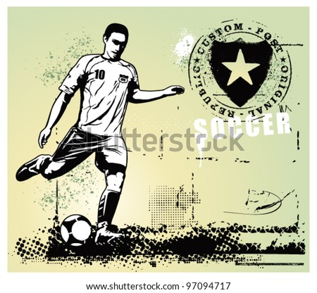 soccer grunge scene with player and gradient background - stock vector