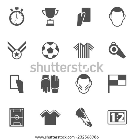 Soccer icons black set with football player ball field cup isolated vector illustration - stock vector