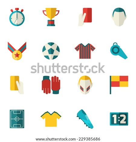 Soccer icons flat set with football layer ball field cup isolated vector illustration - stock vector