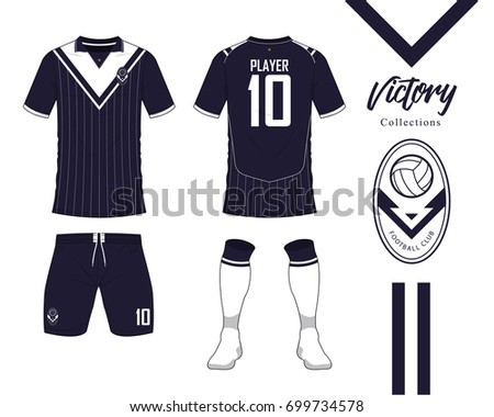 soccer jersey football kit collection victory stock vector