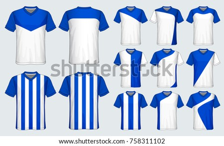 745e3af6d Soccer jersey template.Blue and white layout football sport t-shirt design.  Template