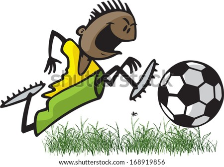 Soccer Kid Cartoon of a young male soccer player dribbling a ball. Layered vector file. - stock vector