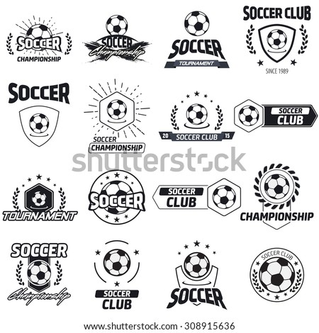 Soccer label with sample text. Logo template  vintage hipster style. Vintage badge for soccer championships, tournaments, and golf clubs .  - stock vector