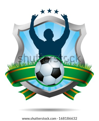Soccer Label with winner and soccer ball - stock vector
