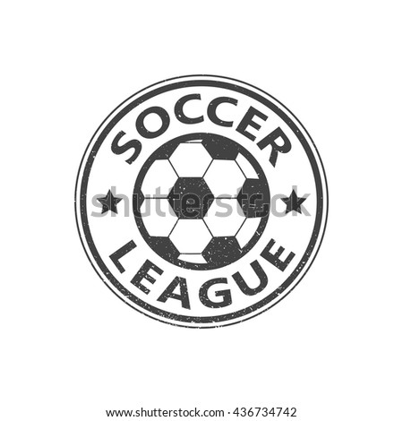 Soccer league. Grunge vintage stamp. Vector illustration. - stock vector