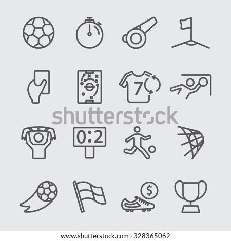 Soccer line icon - stock vector