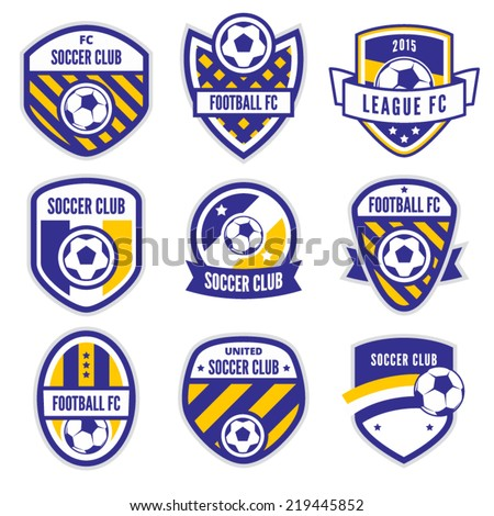 Soccer Logo or Football Club Sign Badge Set - stock vector