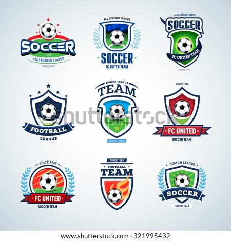 Soccer logo templates set. Football logotypes. Set of soccer football crests and logo template emblem designs, logotypes design concepts of football icons. Collection of Soccer Themed T shirt Graphics - stock vector